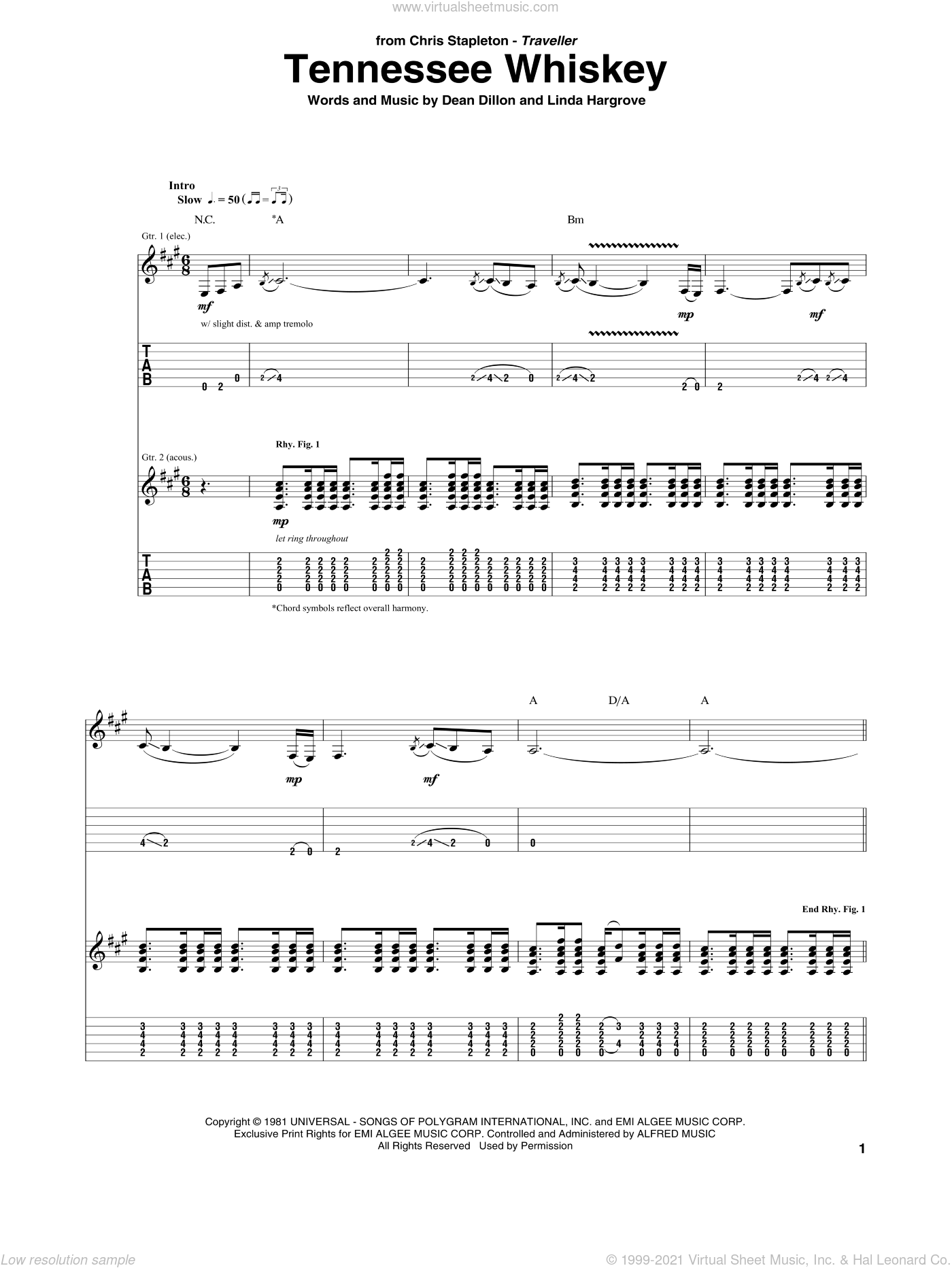(Smooth As) Tennessee Whiskey sheet music for guitar (tablature) by Chris Stapleton, George Jones and Dean Dillon. Score Image Preview.