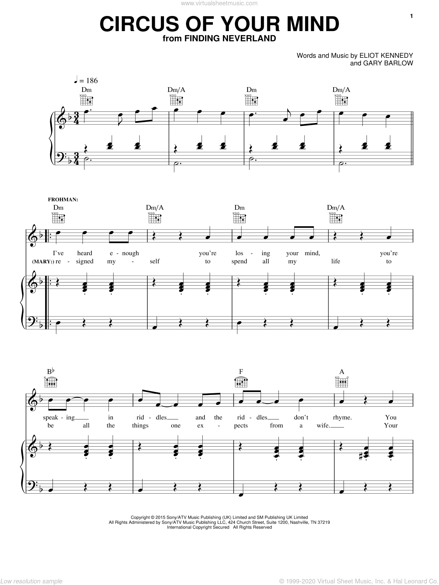 Circus Of Your Mind sheet music for voice, piano or guitar by Eliot Kennedy and Gary Barlow. Score Image Preview.