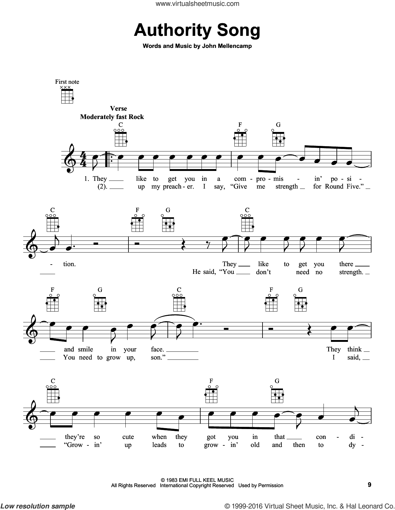 Authority Song sheet music for ukulele by John Mellencamp, intermediate ukulele. Score Image Preview.