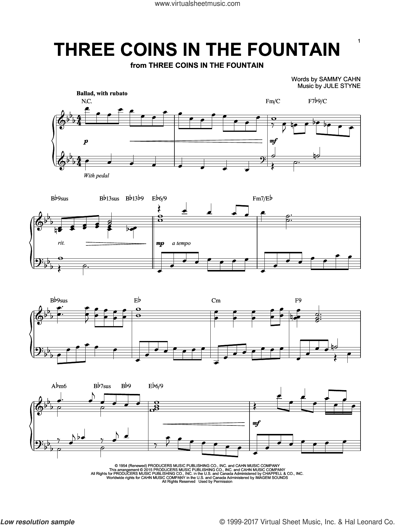 Three Coins In The Fountain sheet music for piano solo by The Four Aces, Jule Styne and Sammy Cahn, intermediate skill level