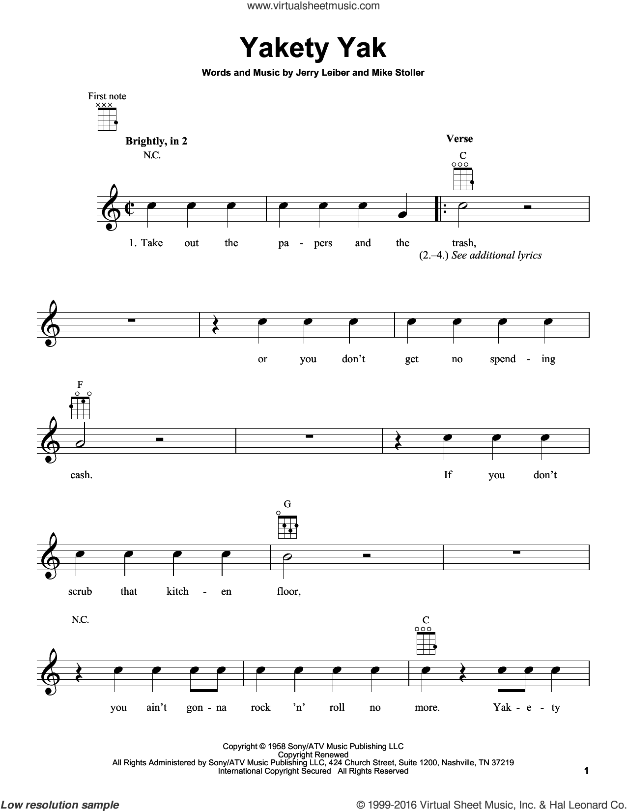 Yakety Yak sheet music for ukulele by Mike Stoller, The Coasters and Jerry Leiber. Score Image Preview.