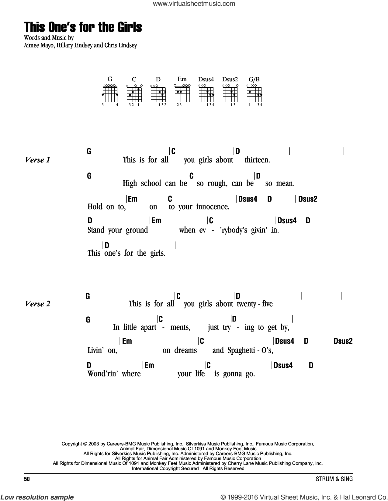 This One's For The Girls sheet music for guitar (chords) by Martina McBride, Aimee Mayo, Chris Lindsey and Hillary Lindsey, intermediate