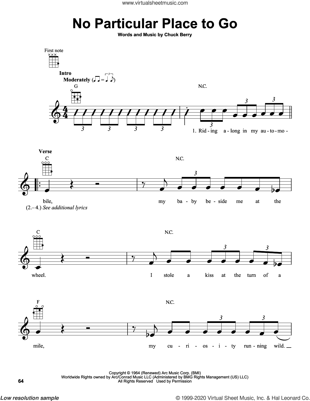 No Particular Place To Go sheet music for ukulele by Chuck Berry, intermediate skill level