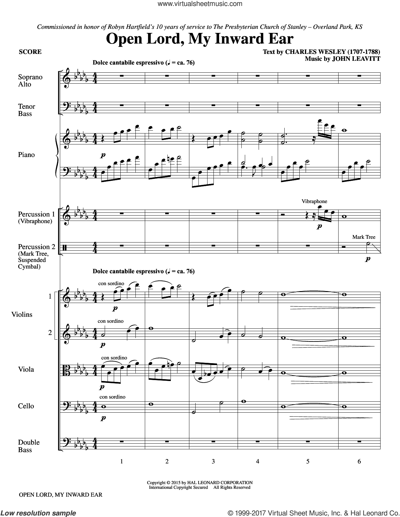 Open Lord, My Inward Ear (COMPLETE) sheet music for orchestra/band by John Leavitt and Charles Wesley, intermediate. Score Image Preview.
