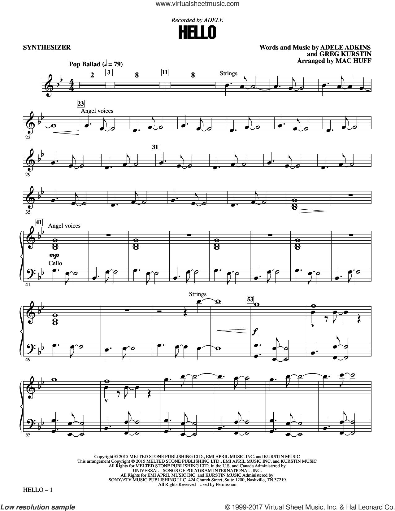 Hello (complete set of parts) sheet music for orchestra/band by Mac Huff, Adele, Adele Adkins and Greg Kurstin, intermediate skill level