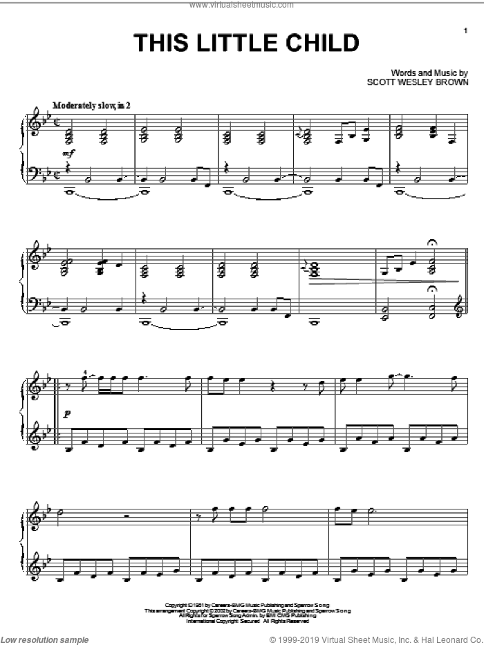 This Little Child sheet music for piano solo by Scott Wesley Brown. Score Image Preview.