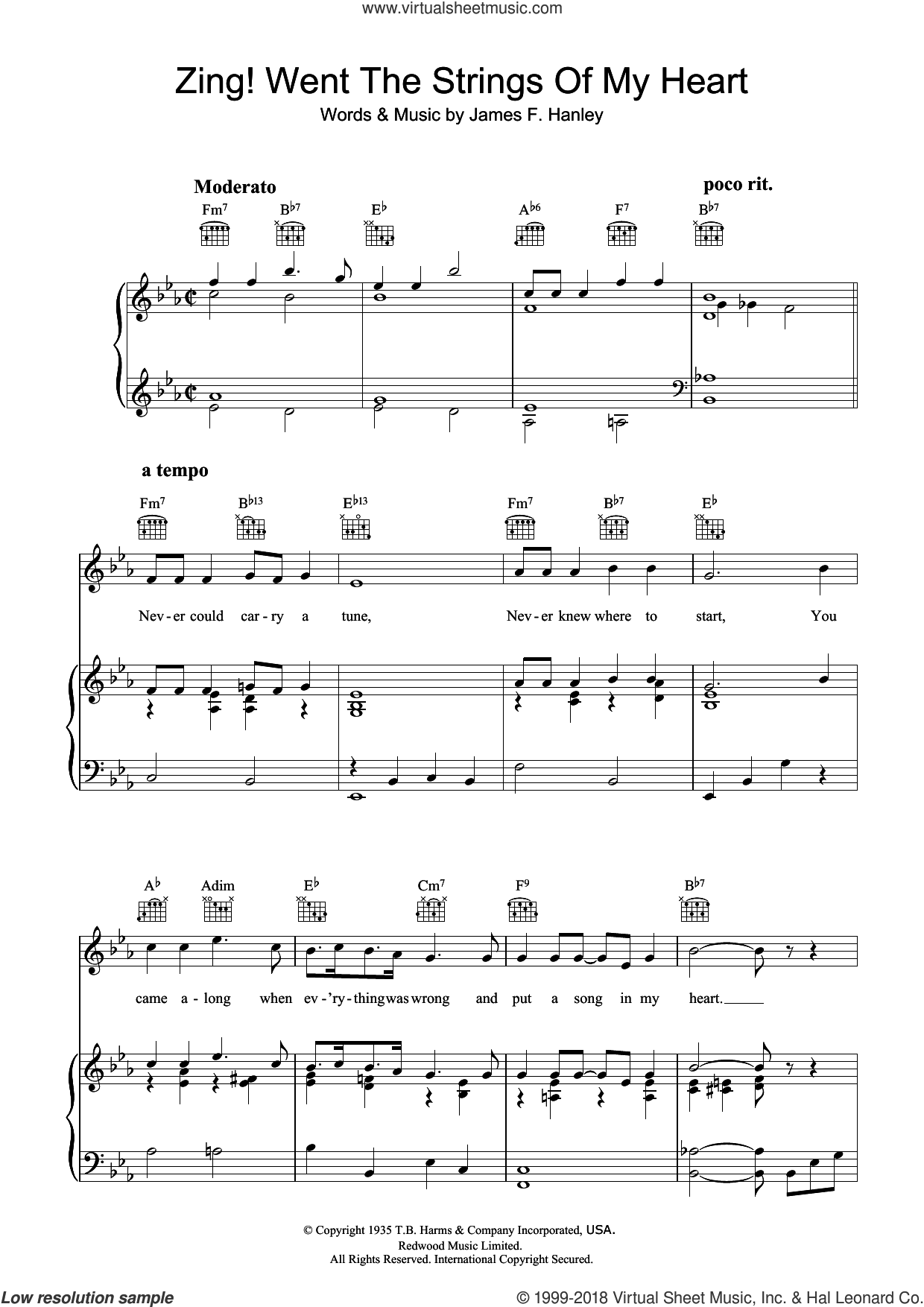 Zing! Went The Strings Of My Heart sheet music for voice, piano or guitar by James Hanley, intermediate skill level