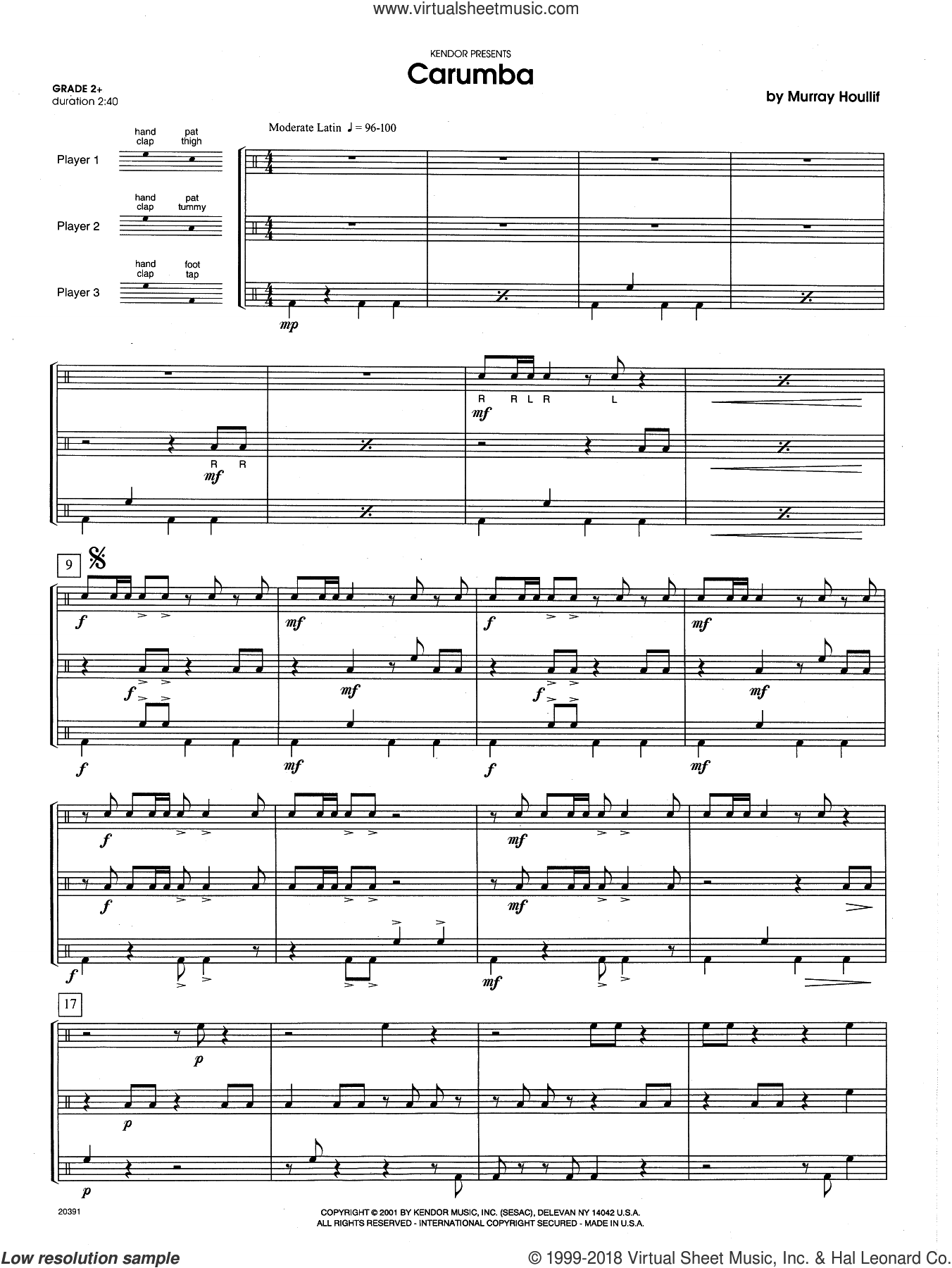 Carumba (COMPLETE) sheet music for percussions by Houllif, intermediate percussions. Score Image Preview.