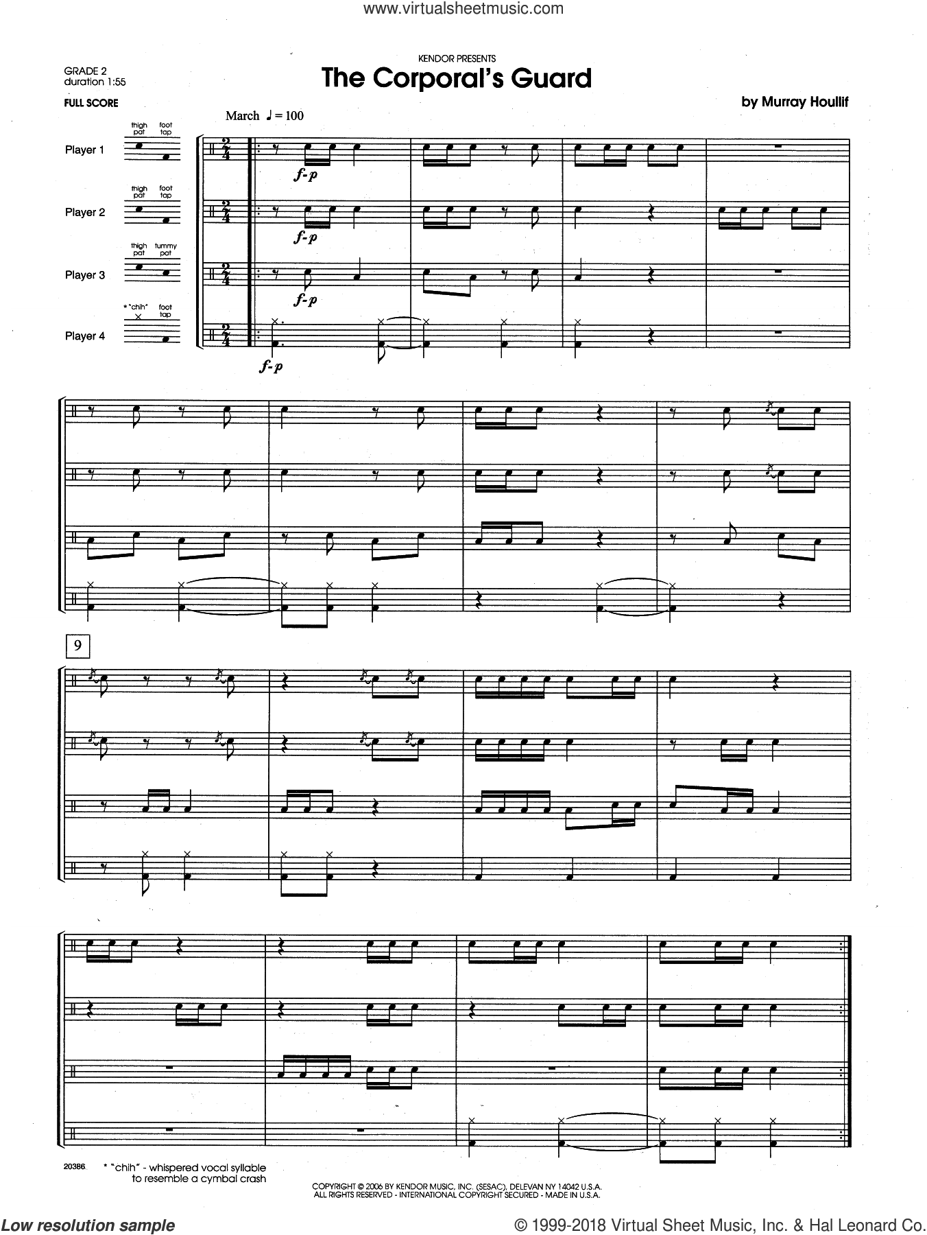 The Corporal's Guard (COMPLETE) sheet music for percussions by Houllif, intermediate. Score Image Preview.
