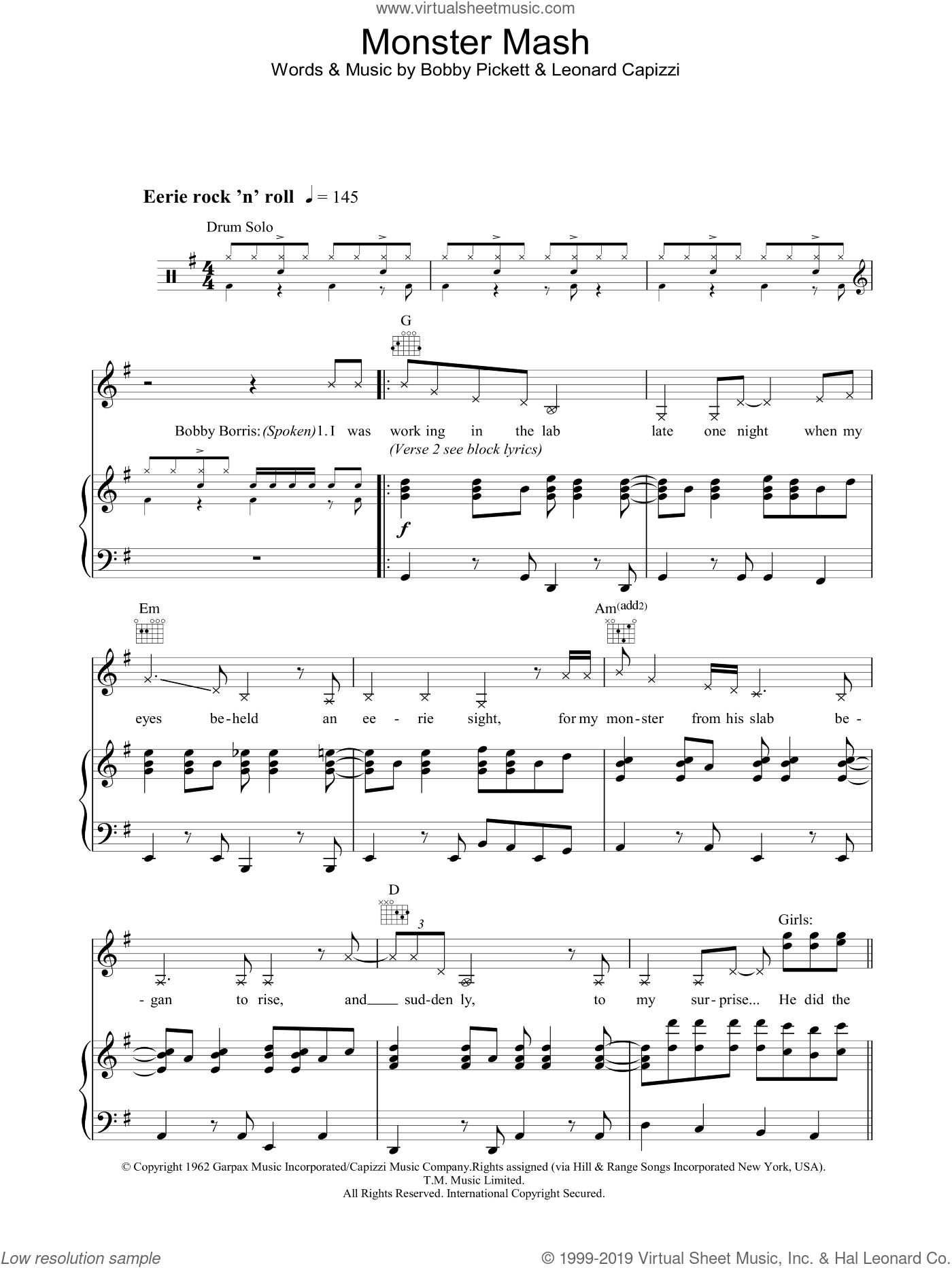 Monster Mash sheet music for voice, piano or guitar by Bobby Pickett and Leonard Capizzi, intermediate. Score Image Preview.