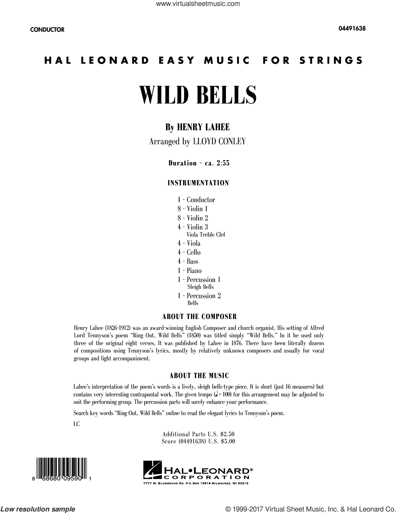 Wild Bells (COMPLETE) sheet music for orchestra by Lloyd Conley and Henry Lahee, intermediate