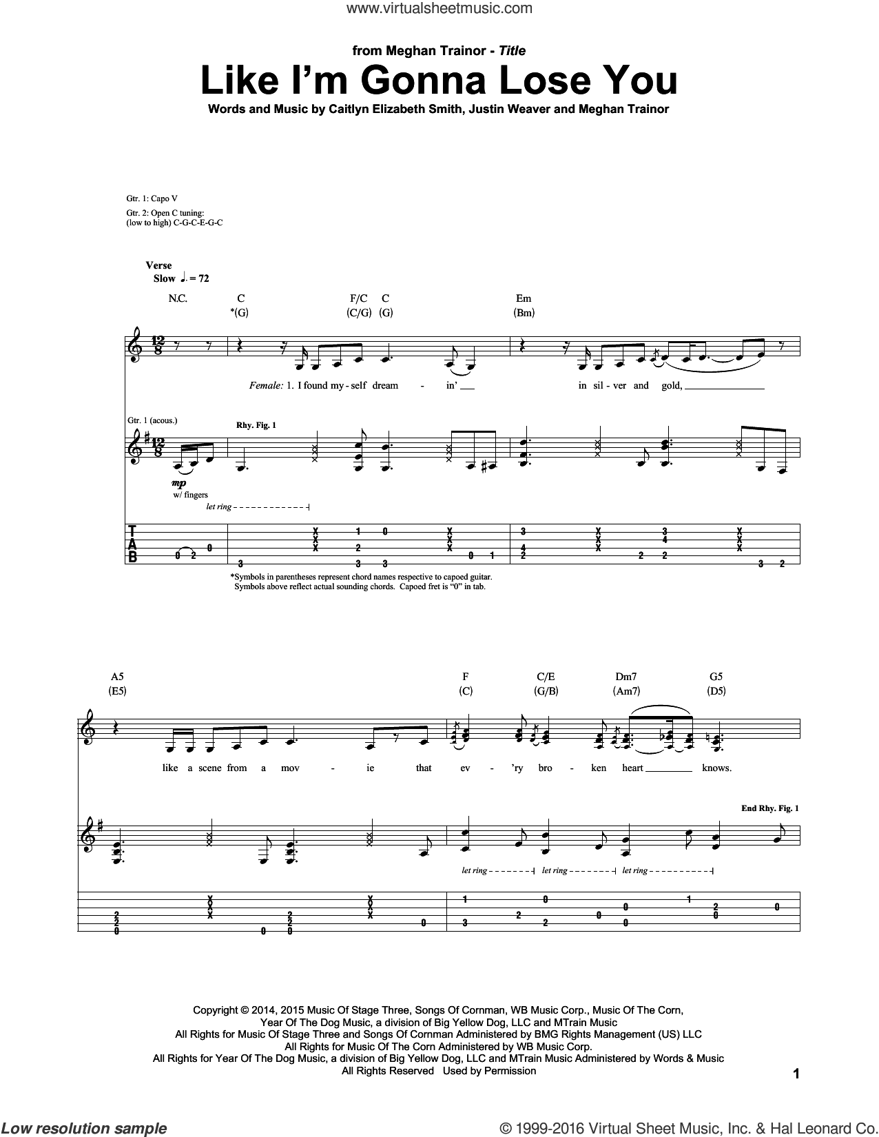 Like I'm Gonna Lose You sheet music for guitar (tablature) by Meghan Trainor, Caitlyn Elizabeth Smith and Justin Weaver, intermediate skill level