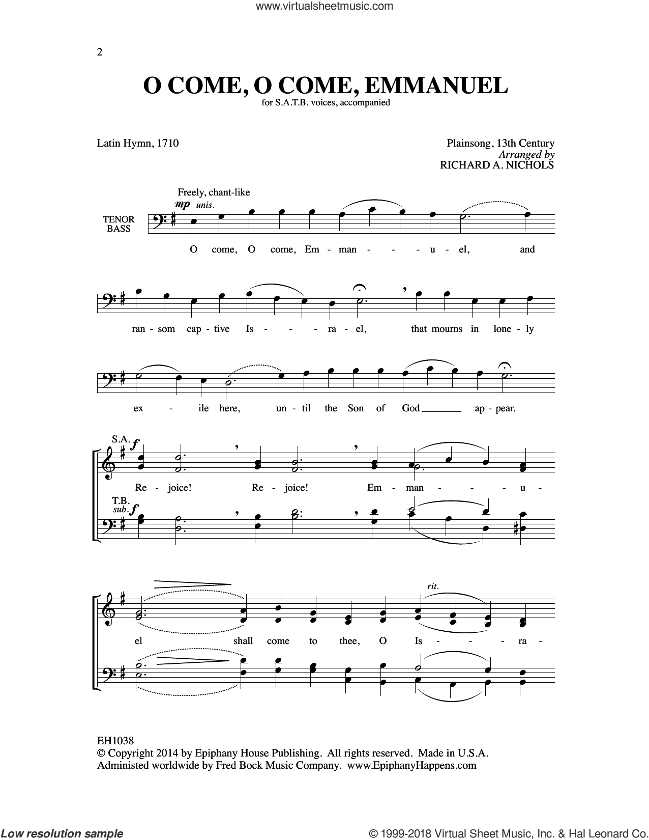 O Come, O Come, Emmanuel sheet music for choir (SATB: soprano, alto, tenor, bass) by Richard A. Nichols, intermediate skill level