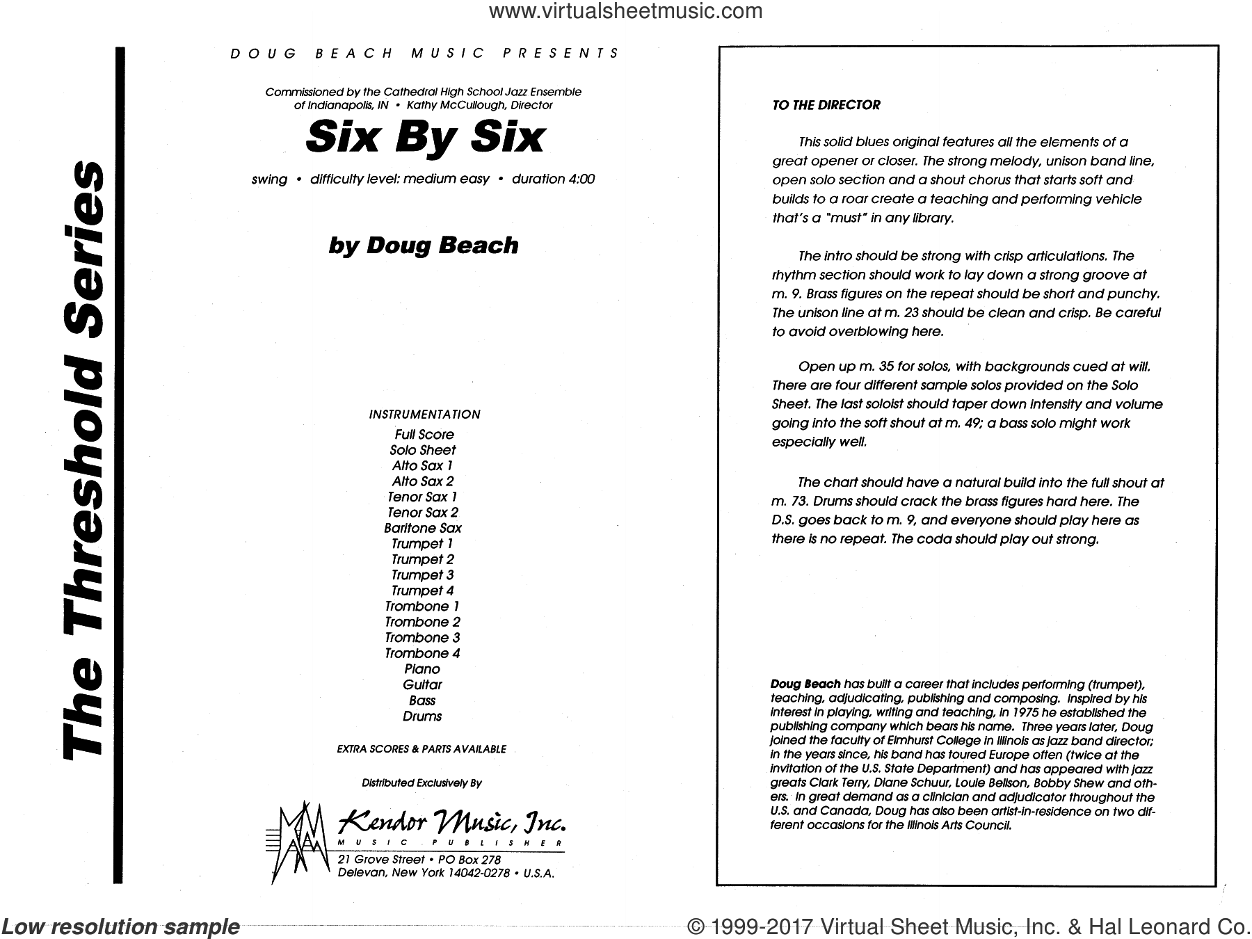 Six By Six (COMPLETE) sheet music for jazz band by Doug Beach, intermediate. Score Image Preview.