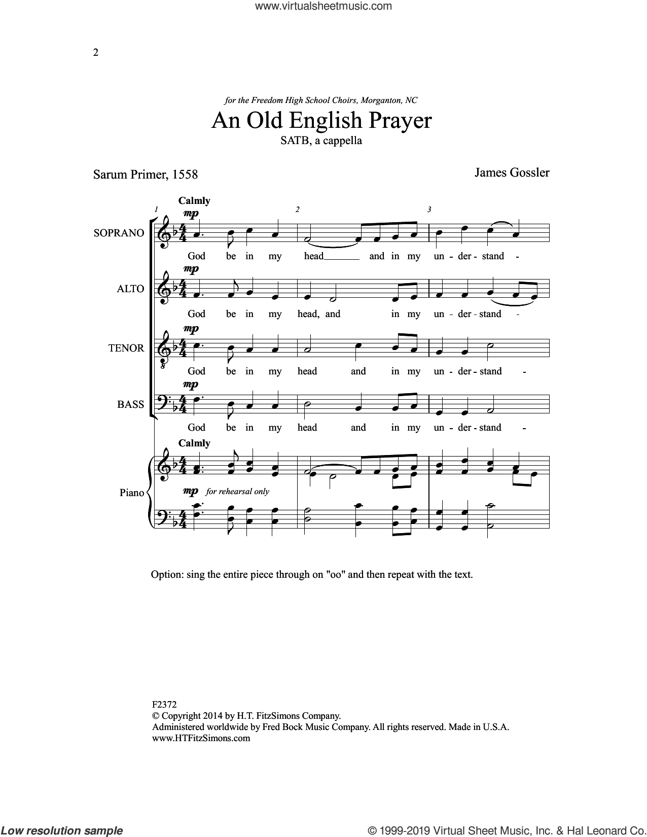 An Old English Prayer sheet music for choir by James Gossler and Sarum Primer, intermediate skill level