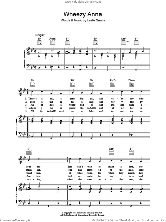 Wheezy Anna sheet music for voice, piano or guitar by Leslie Sarony. Score Image Preview.