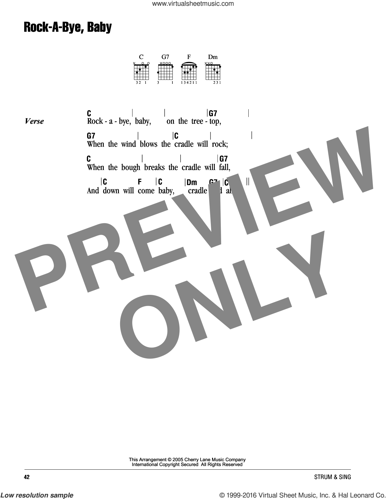 Rock-A-Bye, Baby sheet music for guitar (chords). Score Image Preview.