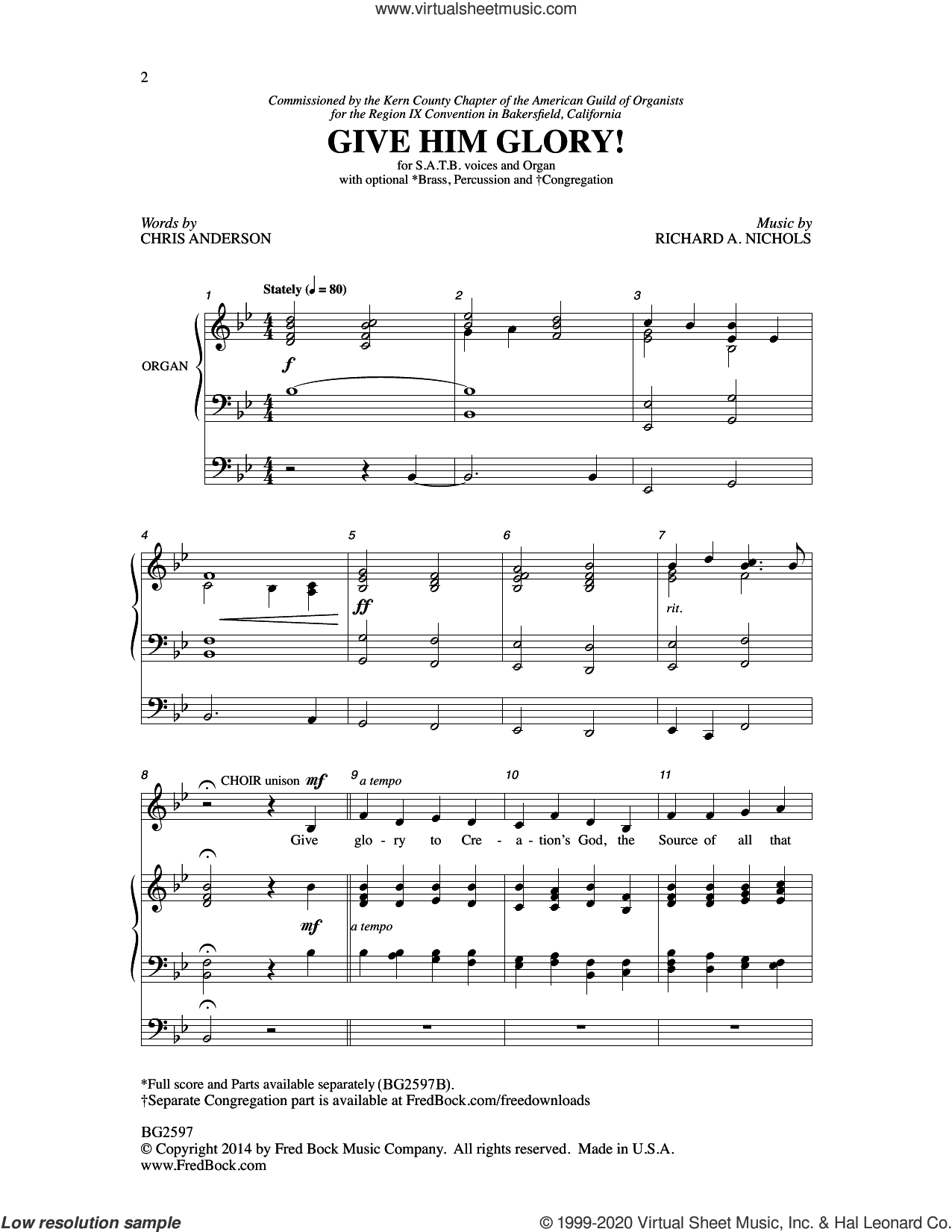 Give Him Glory! sheet music for choir by Richard A. Nichols and Chris Anderson, intermediate skill level