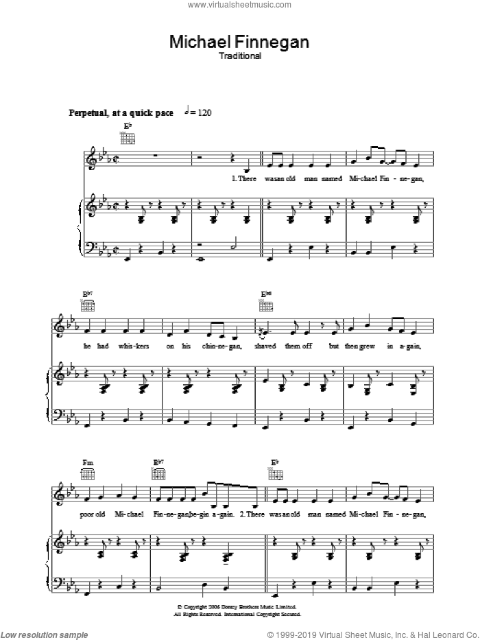 Michael Finnegan sheet music for voice, piano or guitar by Sam Hinton and Miscellaneous, intermediate skill level