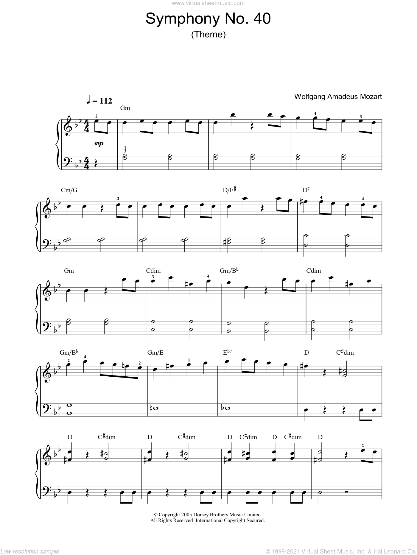 Symphony No. 40 (Theme) sheet music for voice, piano or guitar by Wolfgang Amadeus Mozart, classical score, intermediate skill level