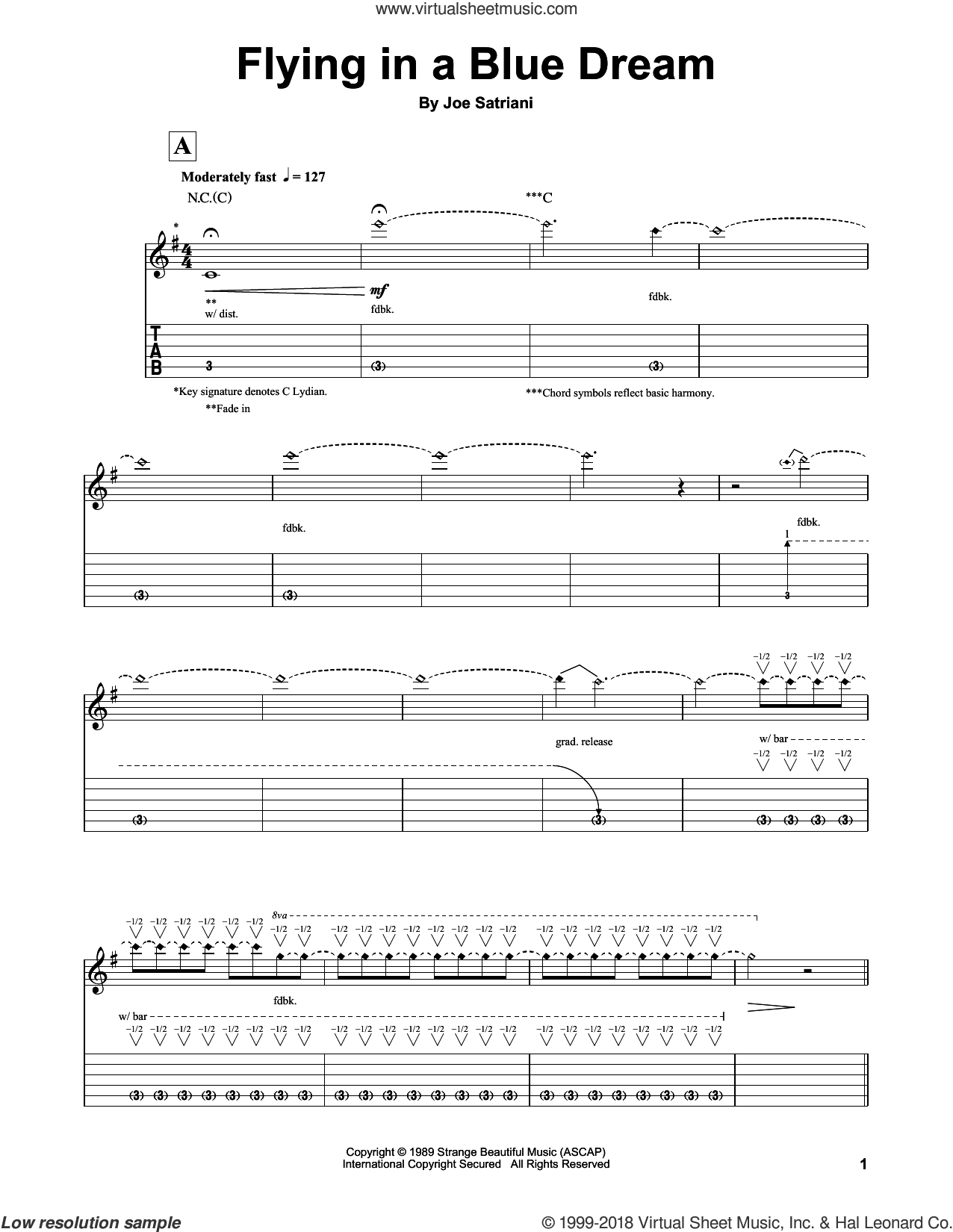 Flying In A Blue Dream sheet music for guitar (tablature, play-along) by Joe Satriani. Score Image Preview.