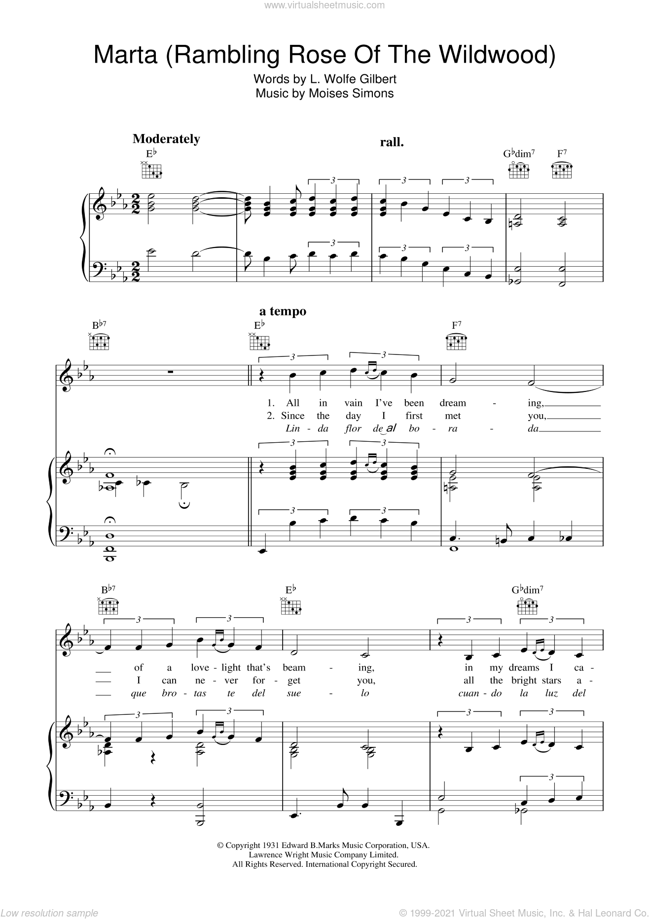 Marta (Rambling Rose Of The Wildwood ) sheet music for voice, piano or guitar by Moises Simons. Score Image Preview.