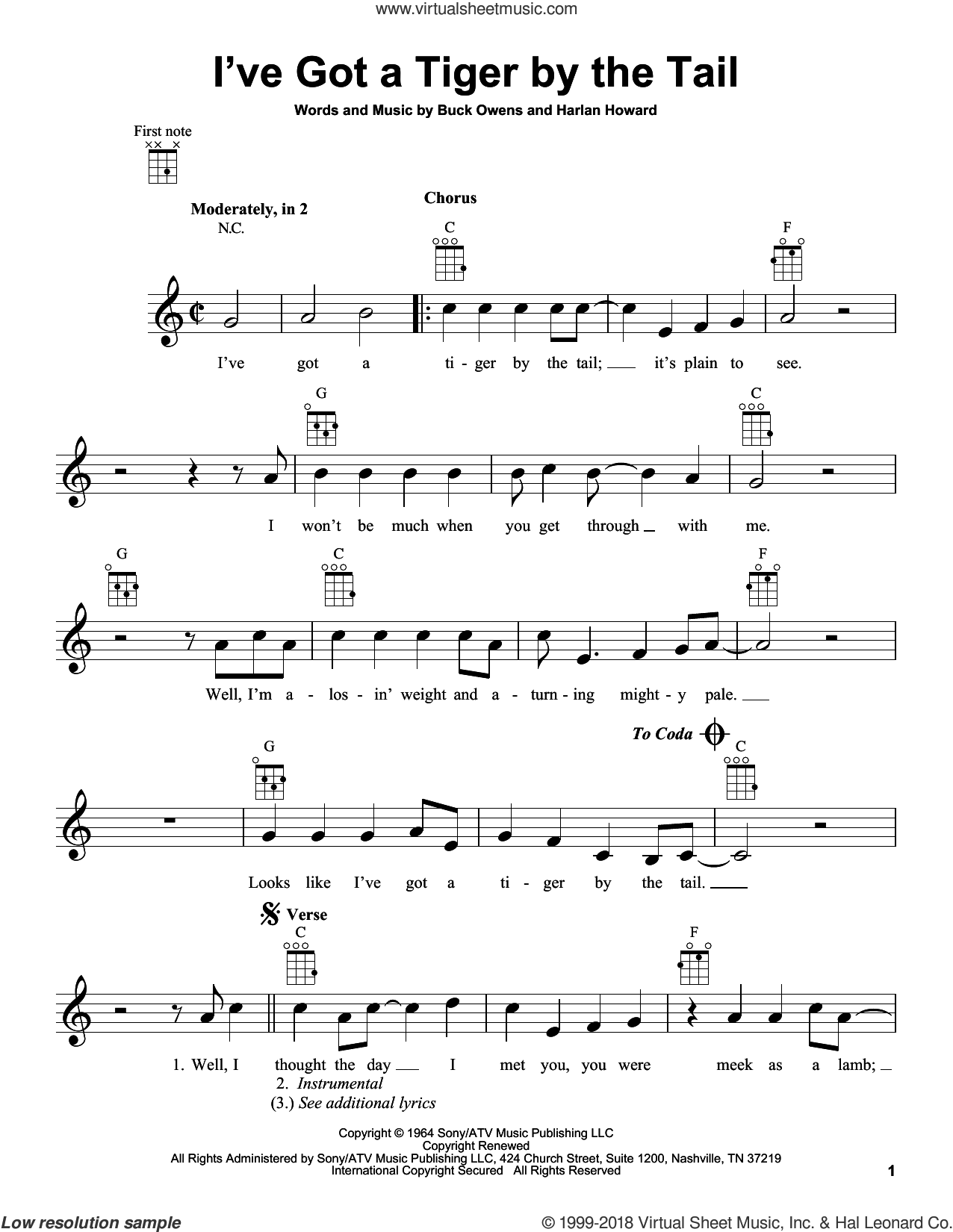 I've Got A Tiger By The Tail sheet music for ukulele by Harlan Howard and Buck Owens. Score Image Preview.