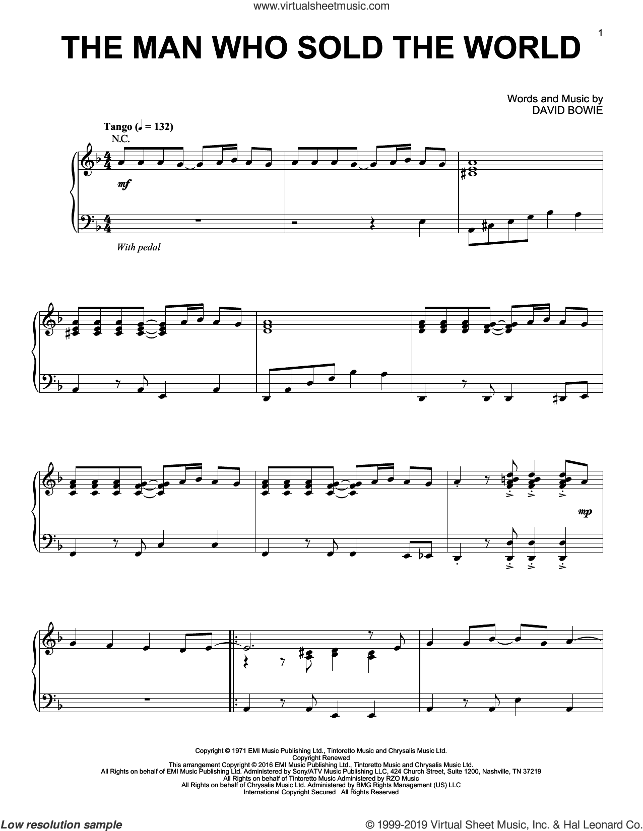 The Man Who Sold The World [Jazz version] sheet music for piano solo by Nirvana and David Bowie, intermediate skill level