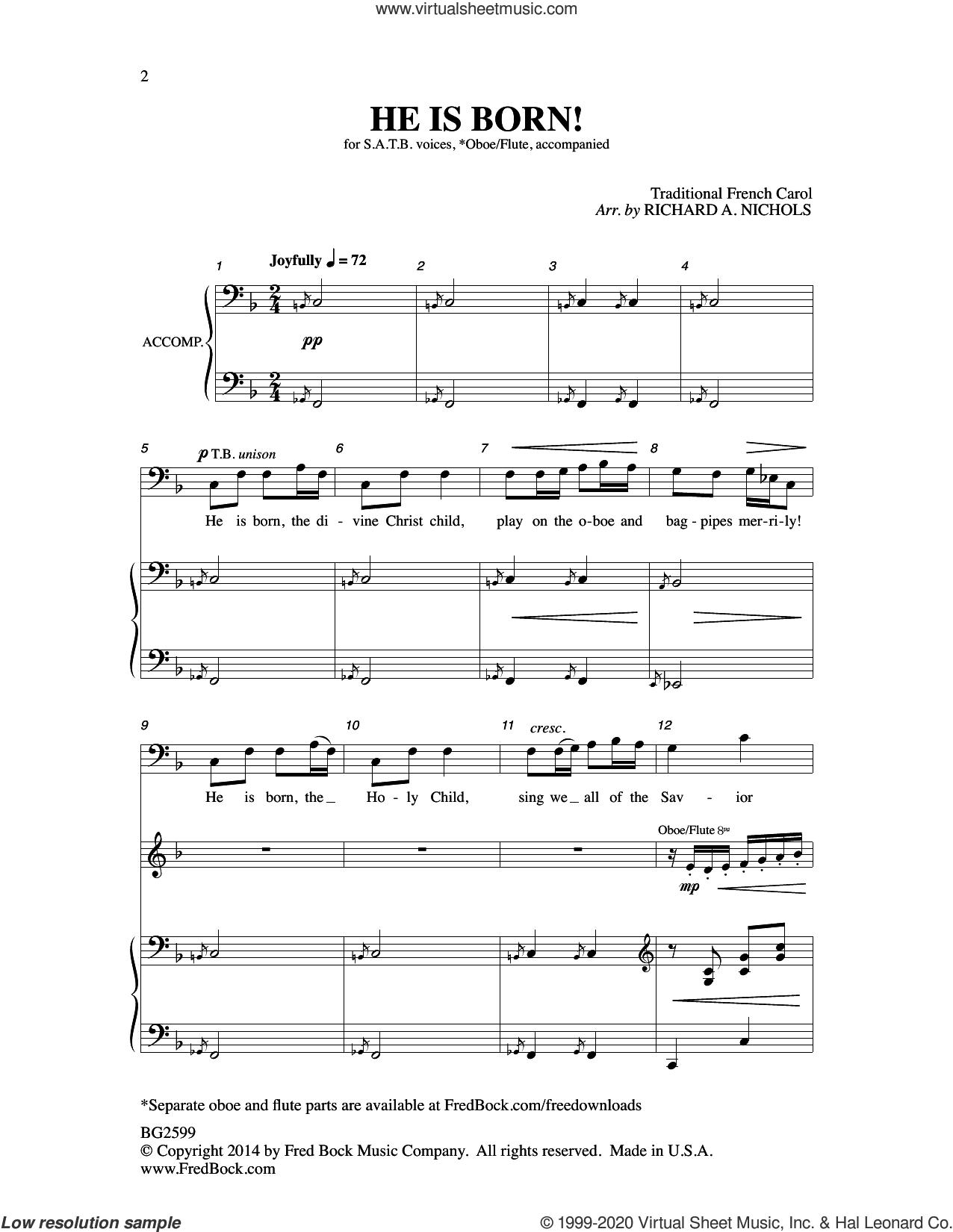 He Is Born sheet music for choir by Richard A. Nichols, intermediate skill level