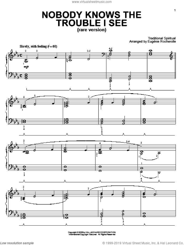 Nobody Knows De Trouble I See (Rare Version) sheet music for piano solo  and Eugenie Rocherolle. Score Image Preview.