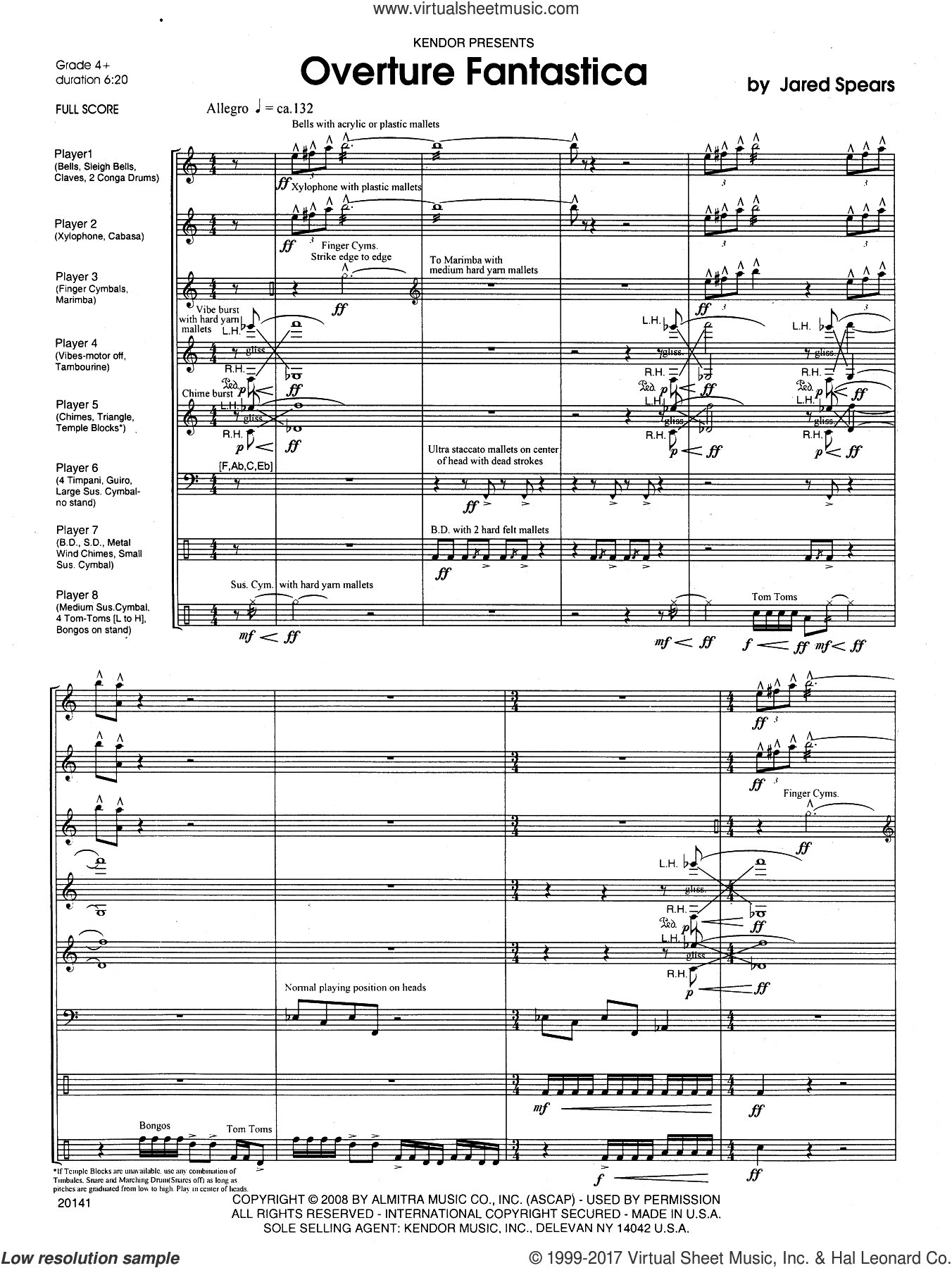 Overture Fantastica (COMPLETE) sheet music for percussions by Jared Spears, intermediate percussions. Score Image Preview.