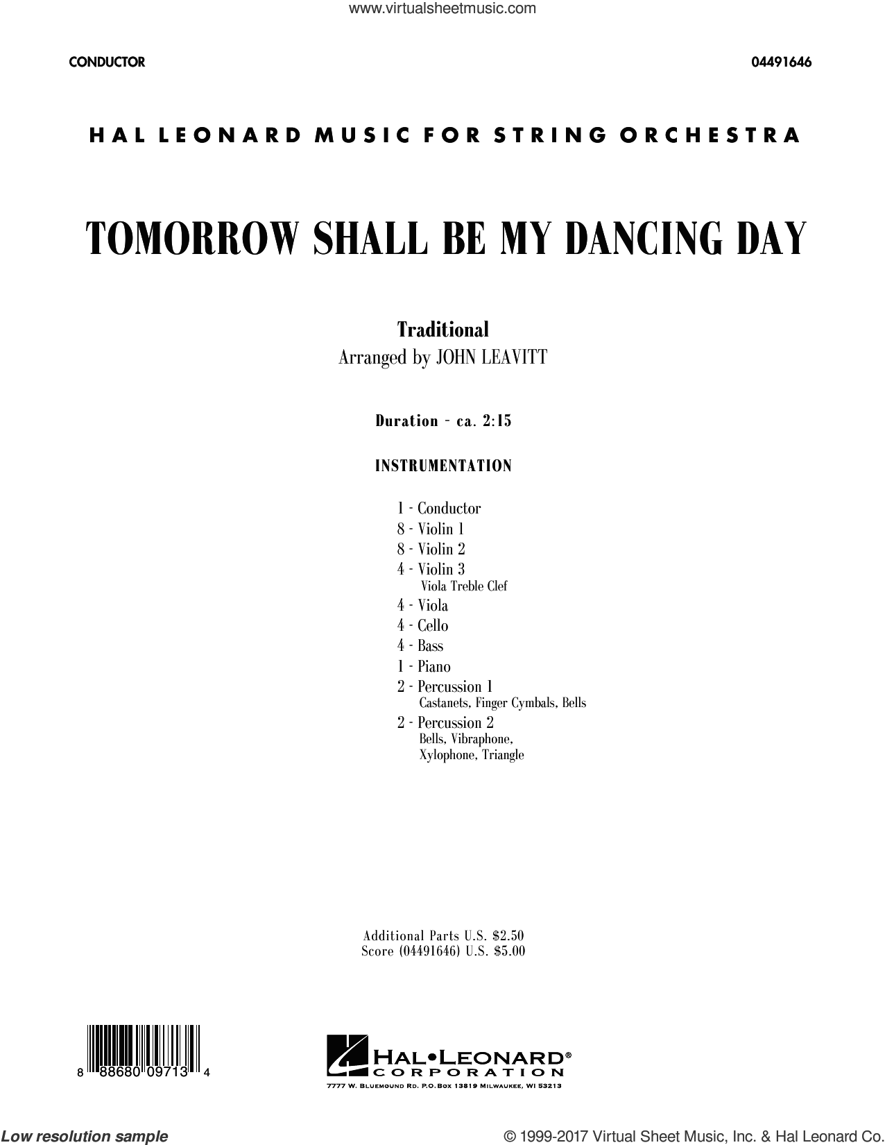 Tomorrow Shall Be My Dancing Day (COMPLETE) sheet music for orchestra by John Leavitt, intermediate skill level