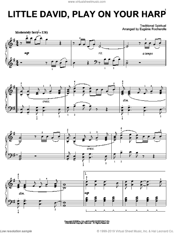 Little David, Play On Your Harp sheet music for piano solo  and Eugenie Rocherolle. Score Image Preview.