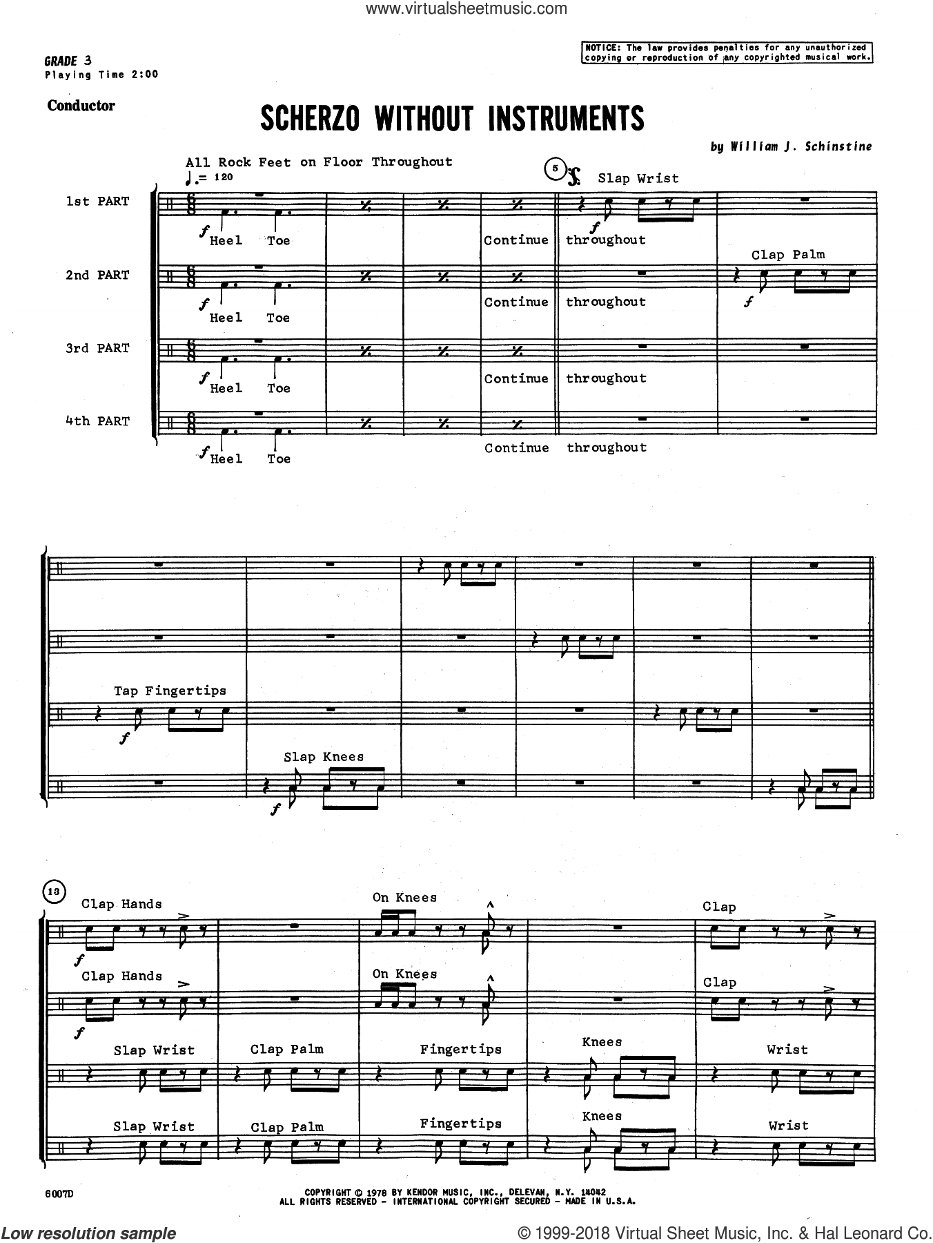 Scherzo Without Instruments (COMPLETE) sheet music for percussions by William Schinstine, intermediate. Score Image Preview.