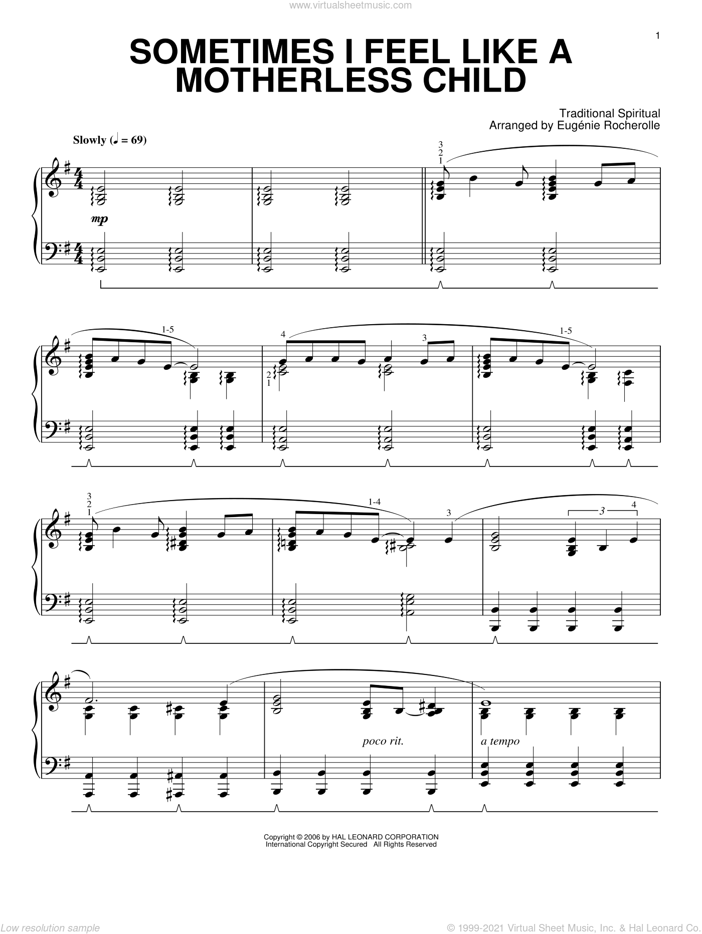 Sometimes I Feel Like A Motherless Child sheet music for piano solo  and Eugenie Rocherolle, intermediate skill level