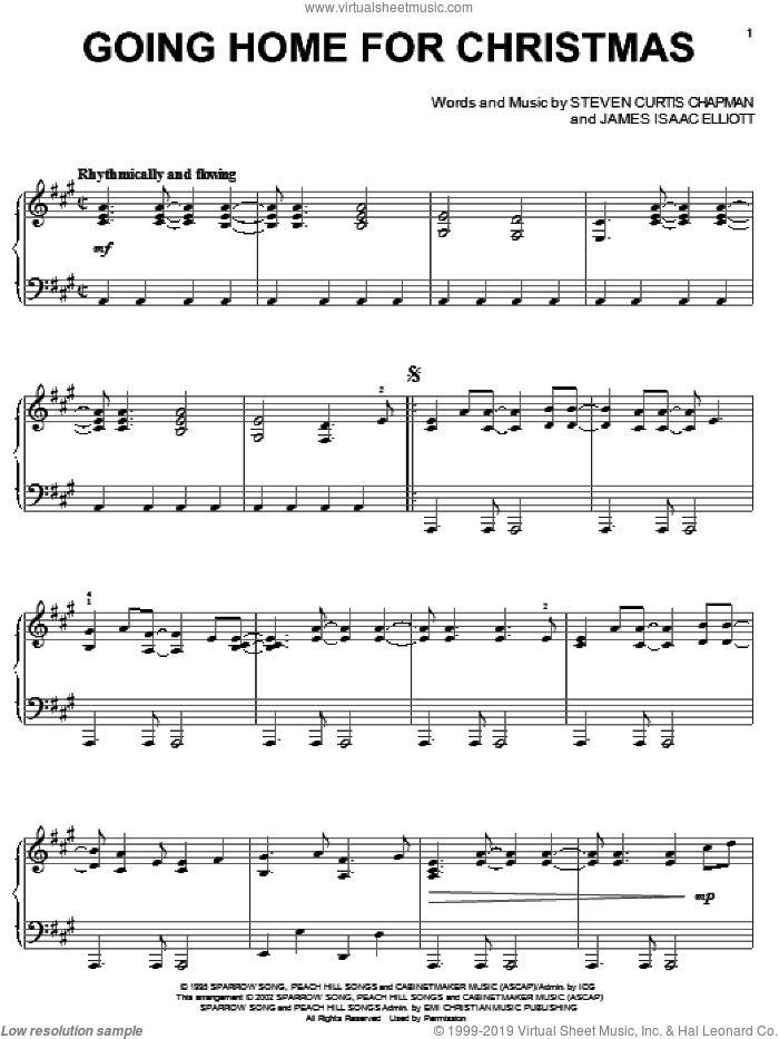 Going Home For Christmas sheet music for piano solo by Steven Curtis Chapman, Christmas carol score, intermediate piano. Score Image Preview.