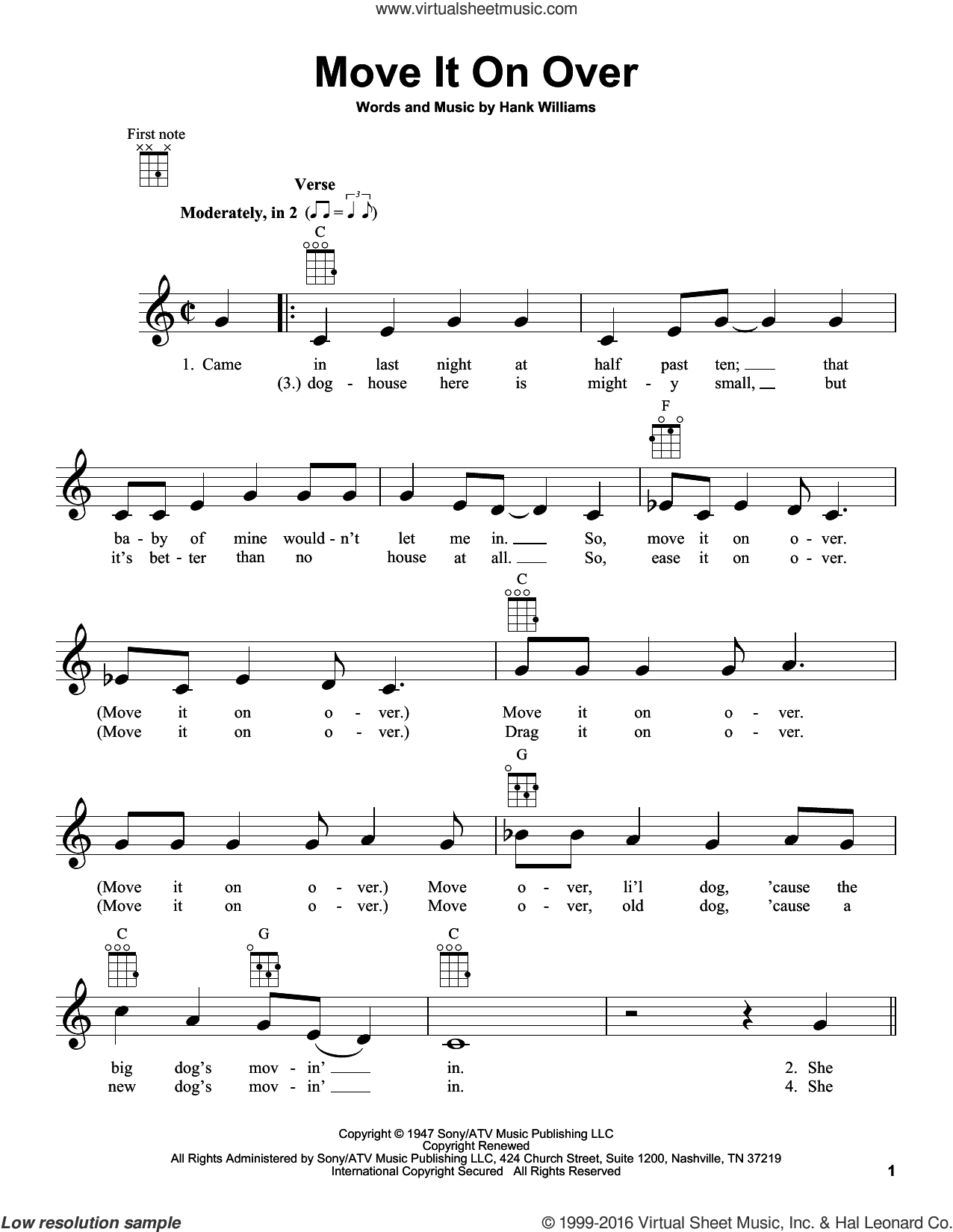 Move It On Over sheet music for ukulele by Hank Williams, Buddy Alan and Travis Tritt with George Thorogood, intermediate skill level