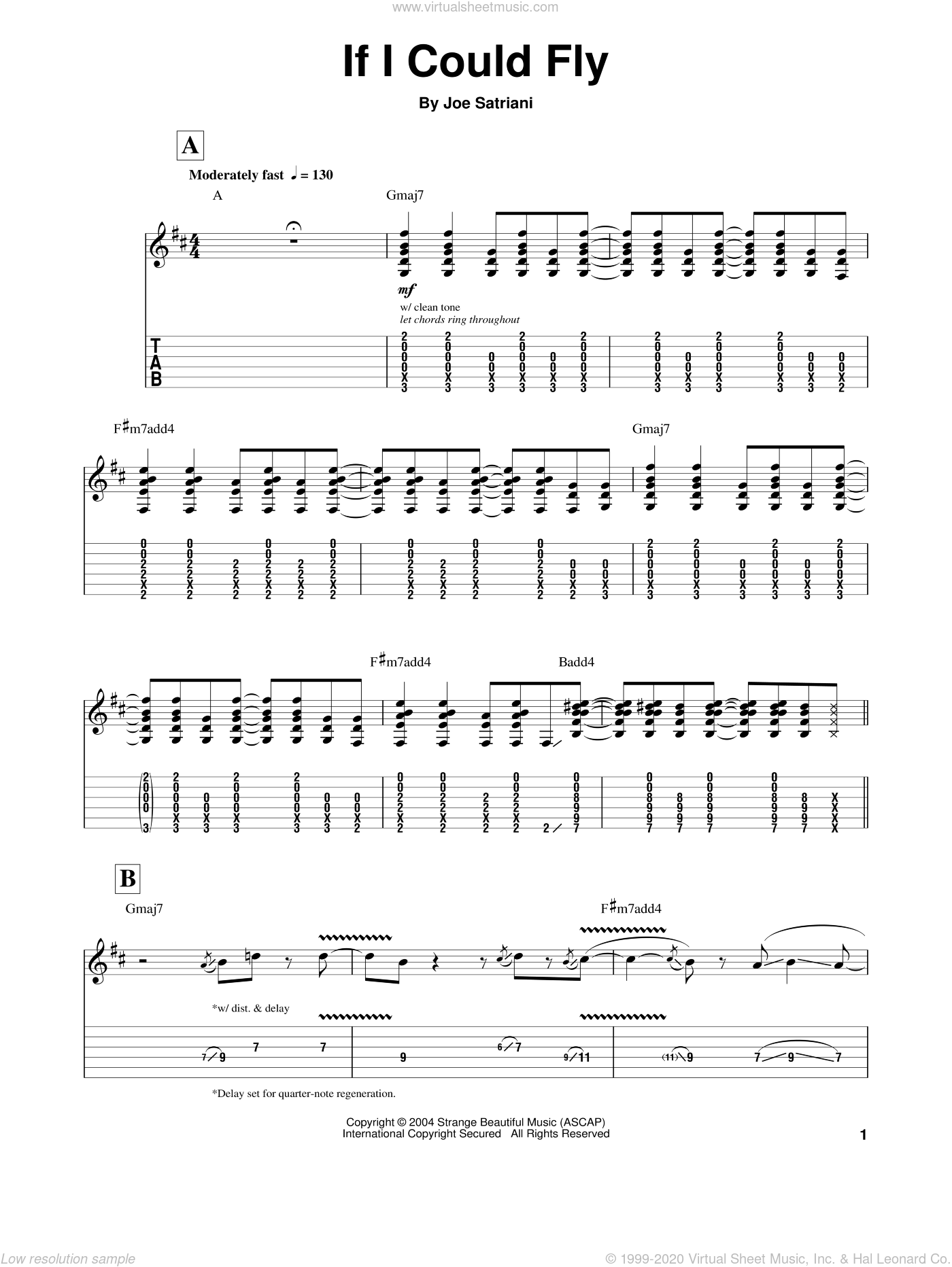 If I Could Fly sheet music for guitar (tablature, play-along) by Joe Satriani, intermediate. Score Image Preview.