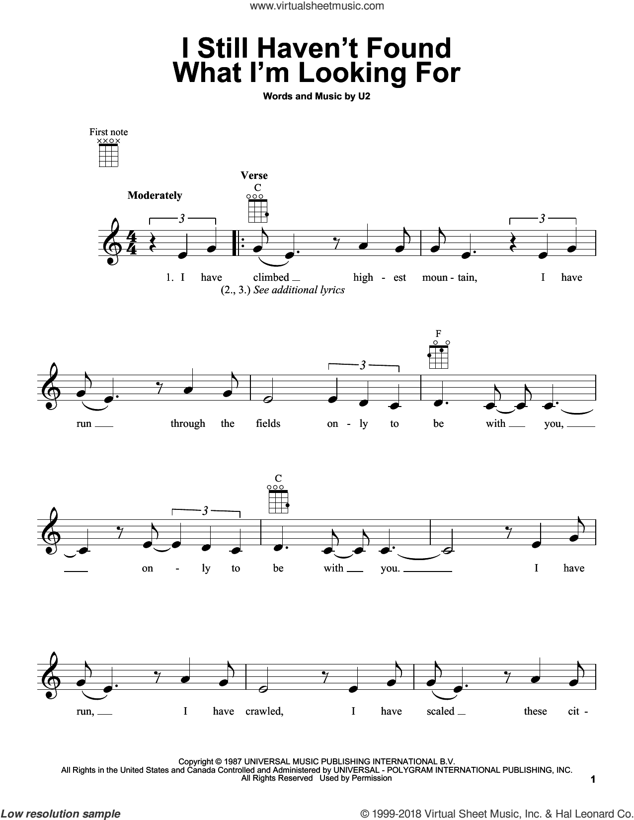 I Still Haven't Found What I'm Looking For sheet music for ukulele by U2 and David Cook, intermediate skill level