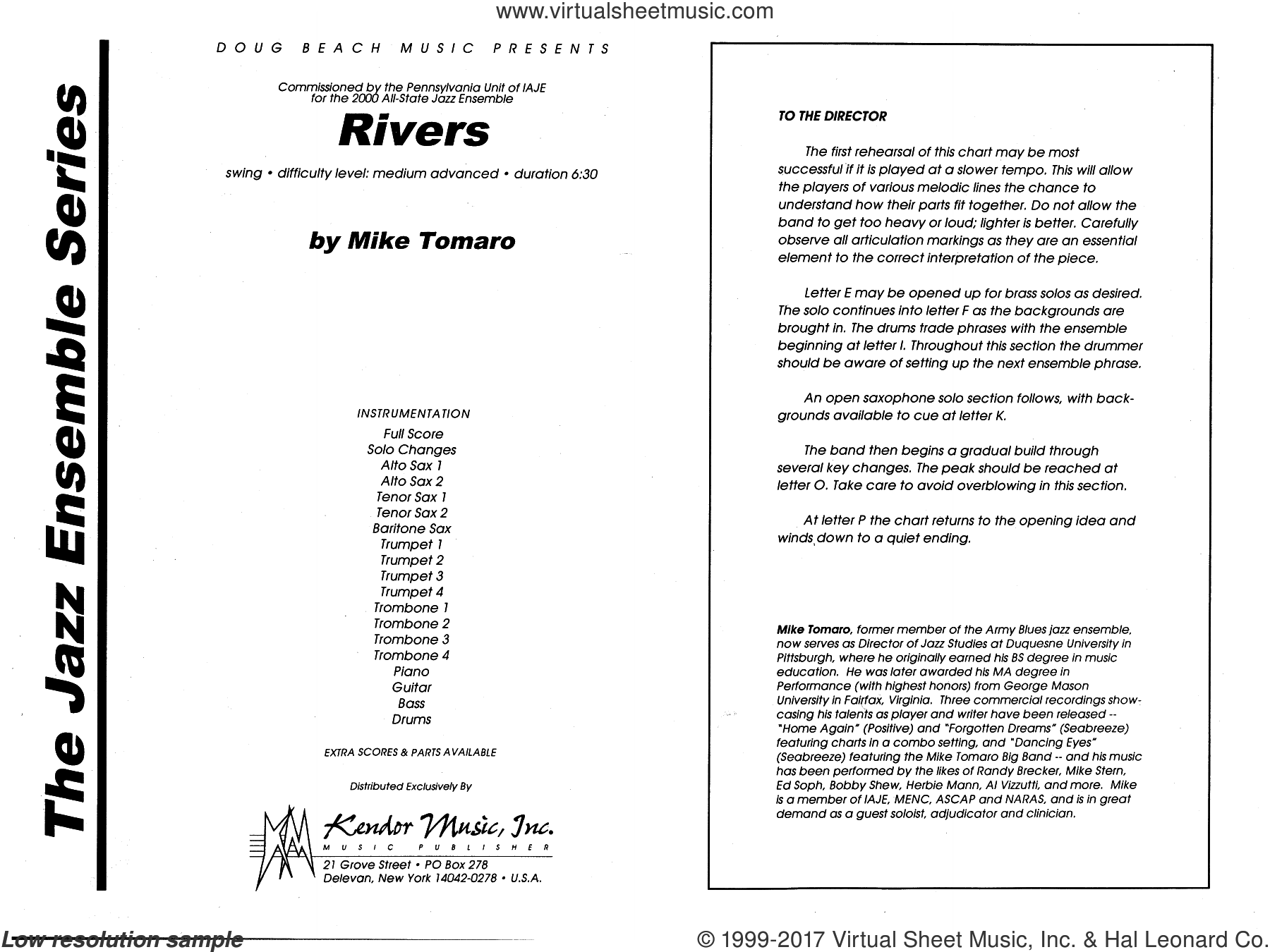 Rivers (COMPLETE) sheet music for jazz band by Mike Tomaro, intermediate skill level