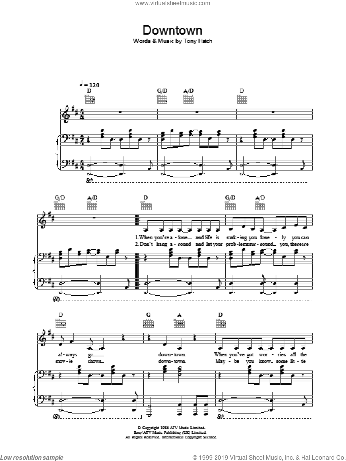 Downtown sheet music for voice, piano or guitar by Tony Hatch