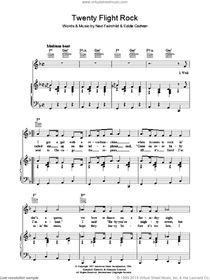 Twenty Flight Rock sheet music for voice, piano or guitar by Ned Fairchild and Eddie Cochran. Score Image Preview.