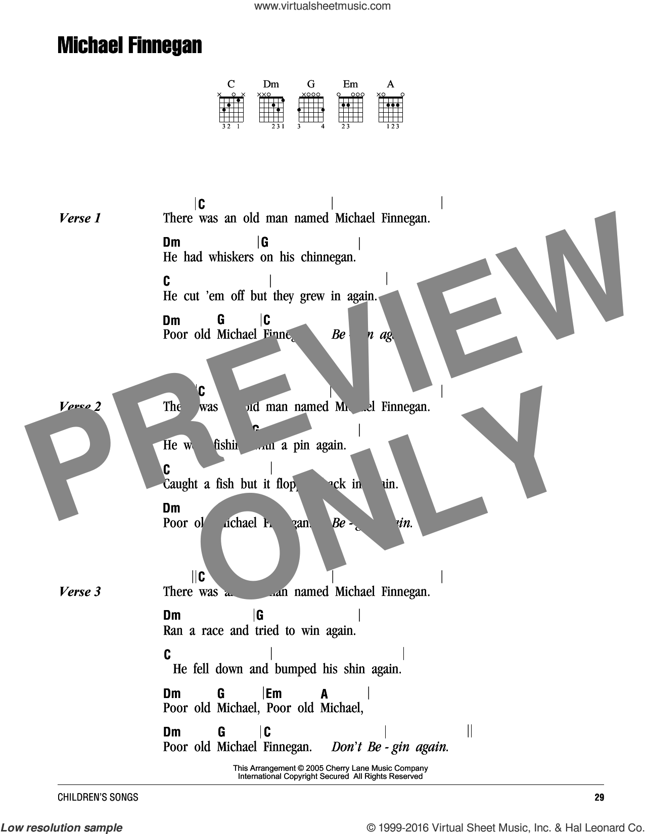 Michael Finnegan sheet music for guitar (chords). Score Image Preview.