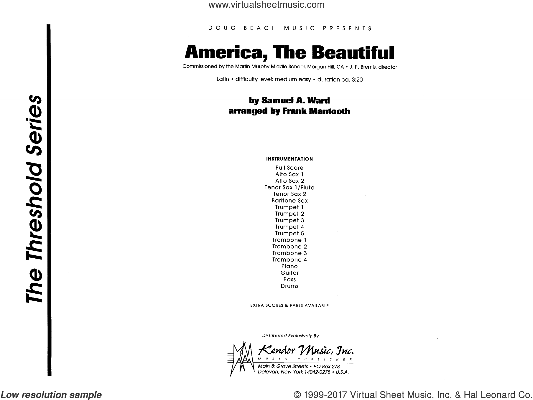 America, the Beautiful (COMPLETE) sheet music for jazz band by Frank Mantooth and Ward, intermediate skill level