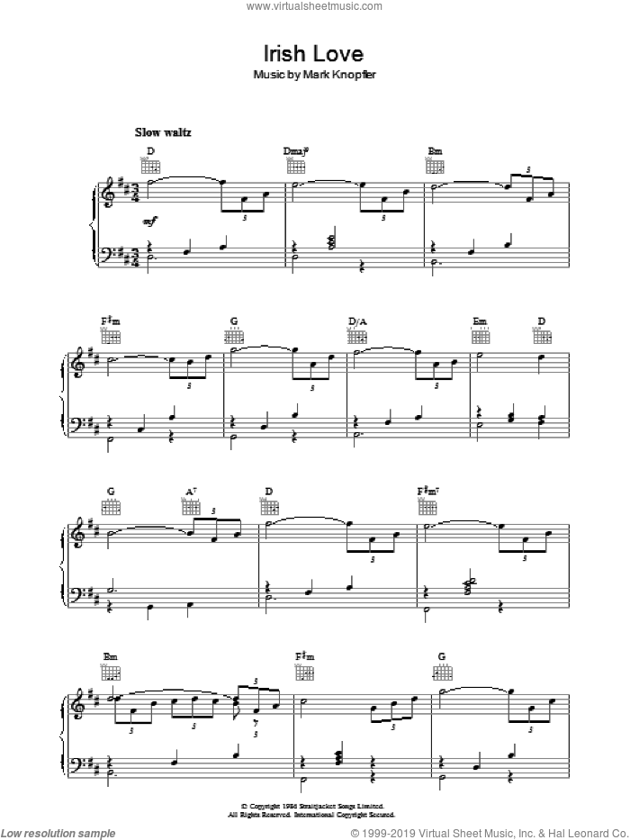 Irish Love (from Cal) sheet music for piano solo by Mark Knopfler, intermediate skill level