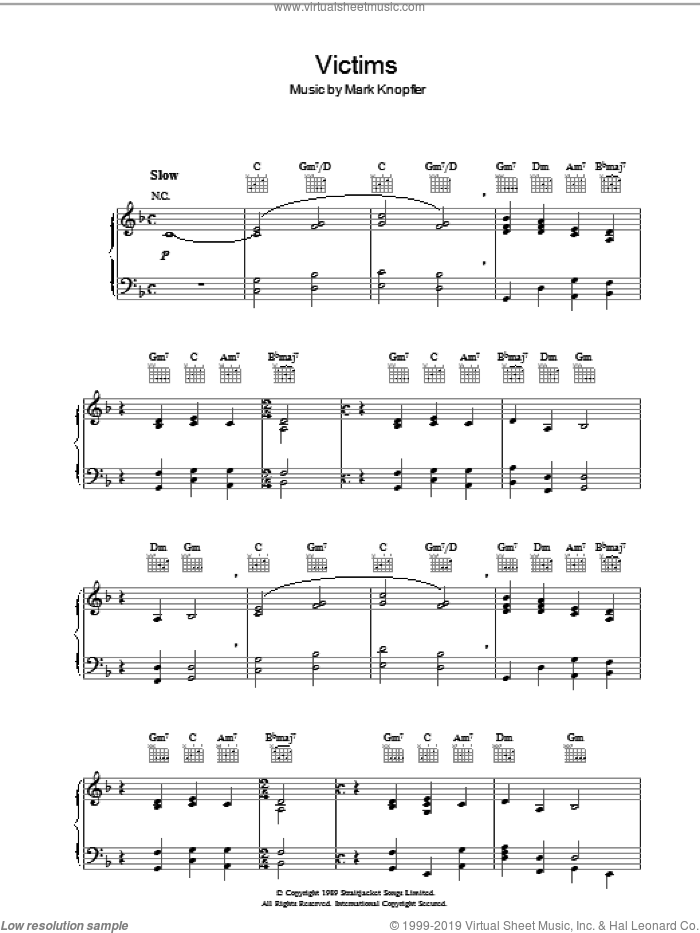 Victims (from Last Exit To Brooklyn) sheet music for piano solo by Mark Knopfler, intermediate. Score Image Preview.