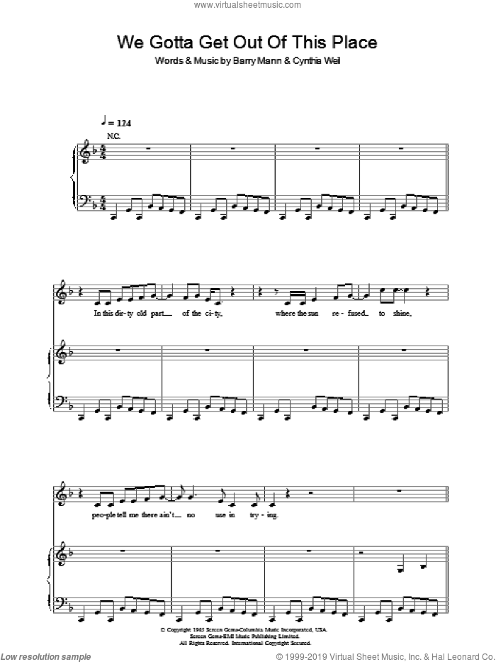 We Gotta Get Out Of This Place sheet music for voice, piano or guitar by Cynthia Weil