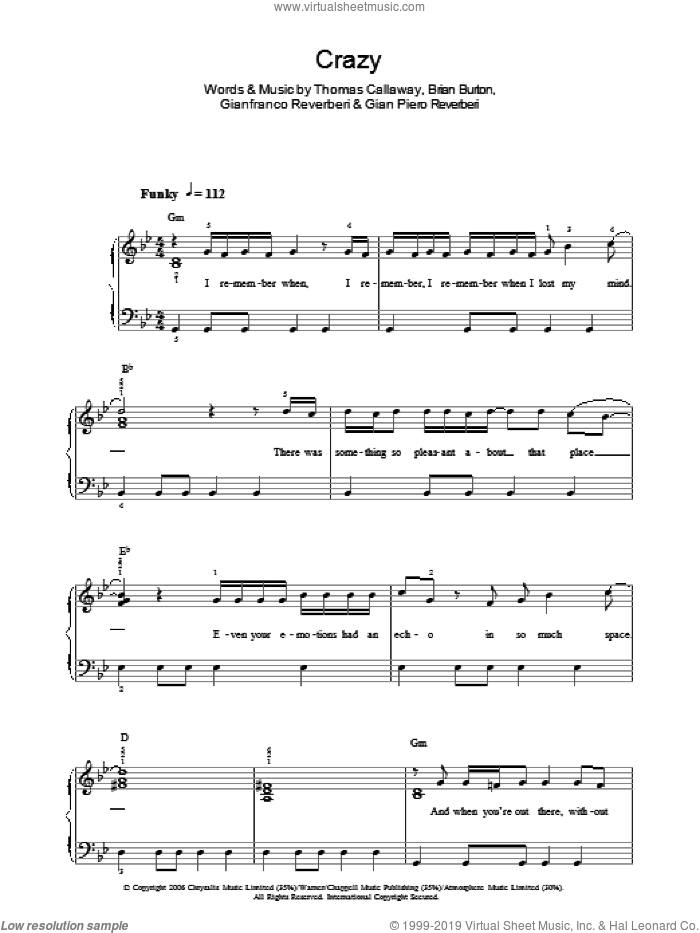 Crazy sheet music for piano solo by Thomas Callaway, Gnarls Barkley and Brian Burton. Score Image Preview.