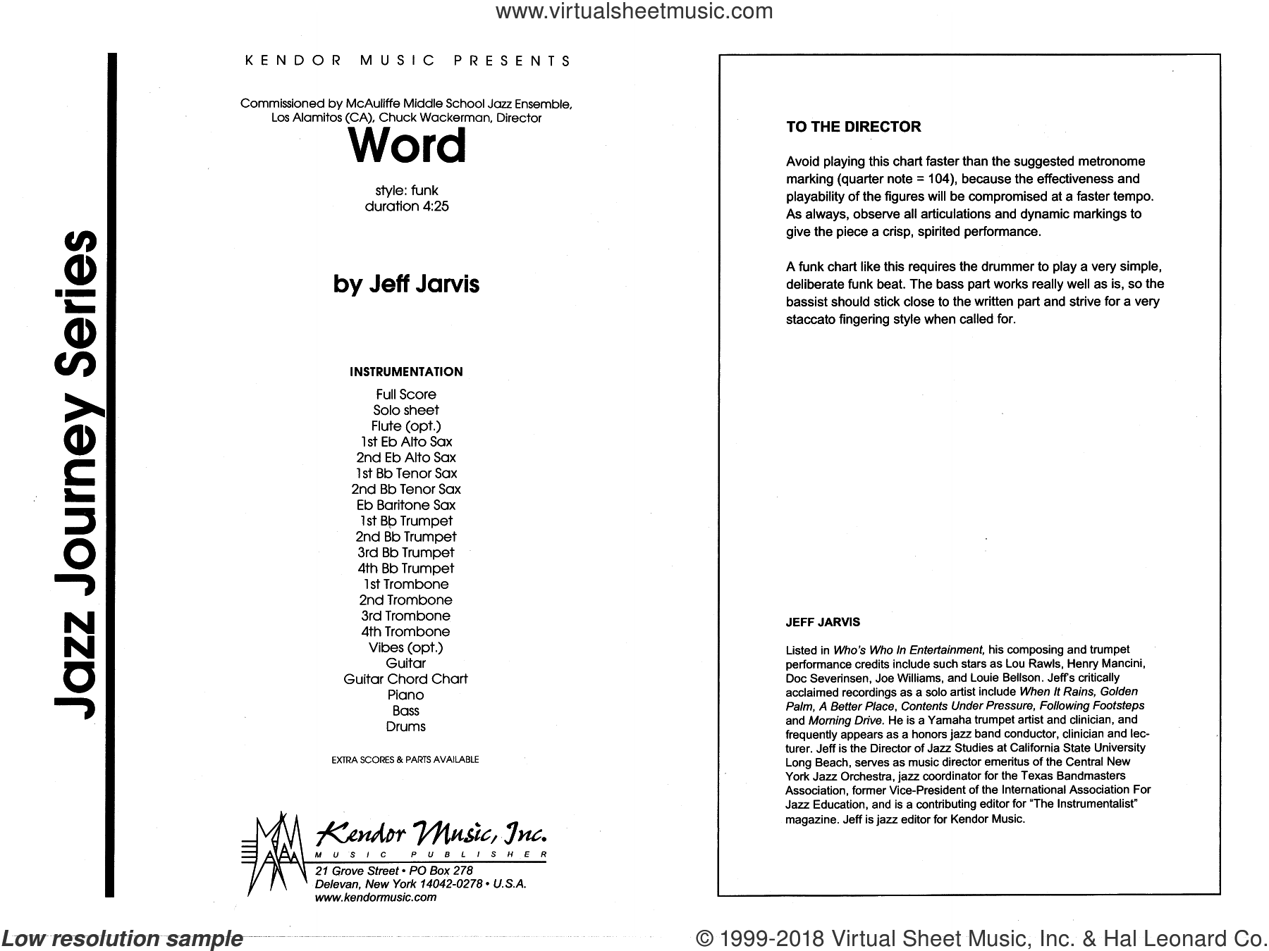 Jarvis - Word sheet music (complete collection) for jazz band