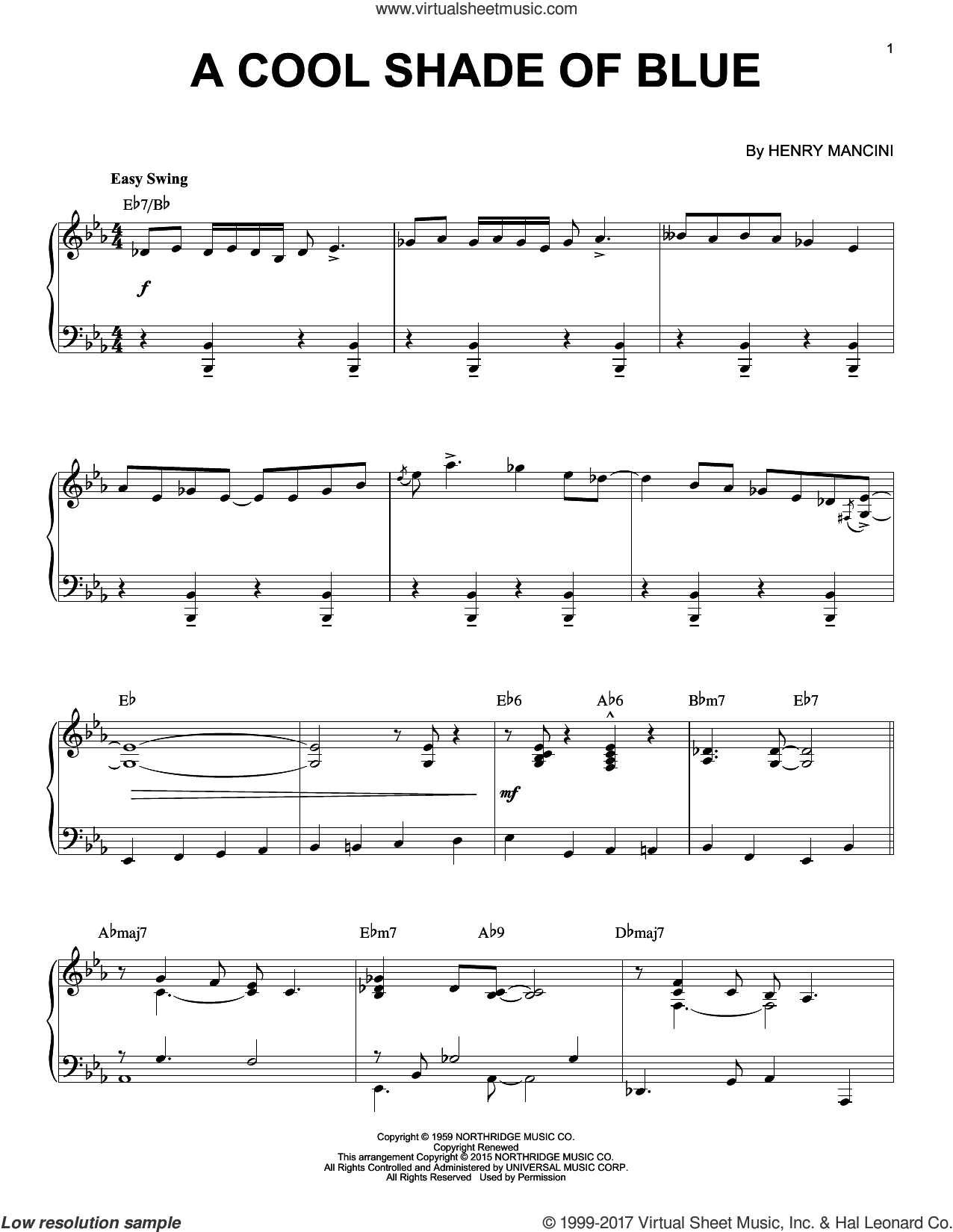 A Cool Shade Of Blue sheet music for piano solo by Henry Mancini, intermediate skill level